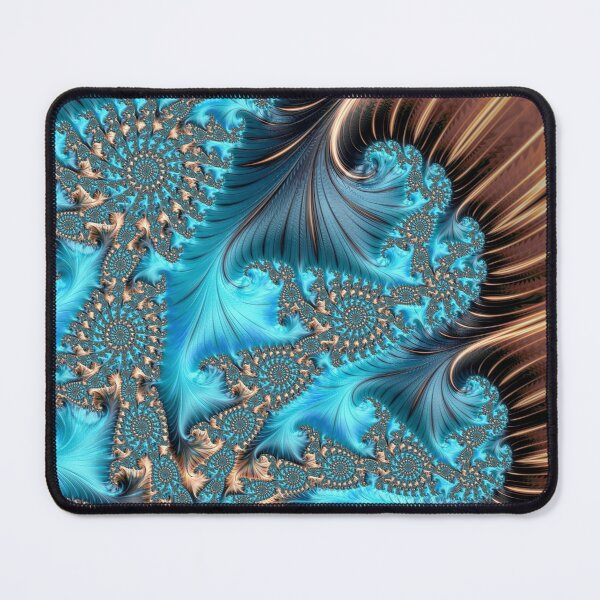 Elegant Copper and Teal Fractal Thirteen Mouse Pad