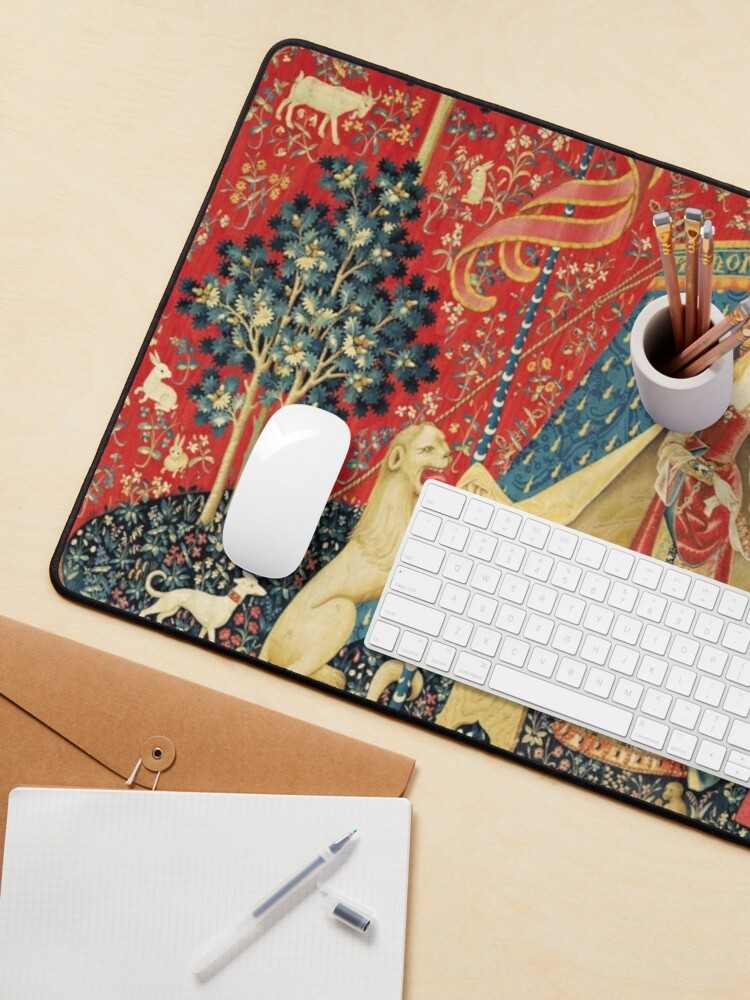 Alternate view of LADY AND UNICORN DESIRE ,Lion,Fantasy Flowers,Animals,Red Green Floral Mouse Pad
