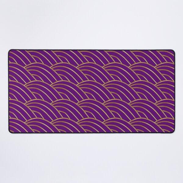 Purple and gold wave  geometric pattern Desk Mat