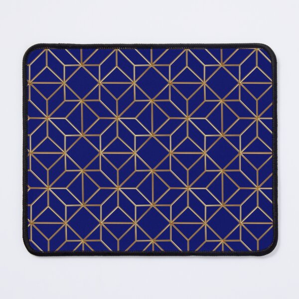 Blue and gold geometric pattern Mouse Pad