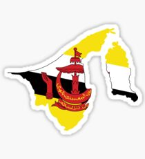Brunei Flag Map Sticker