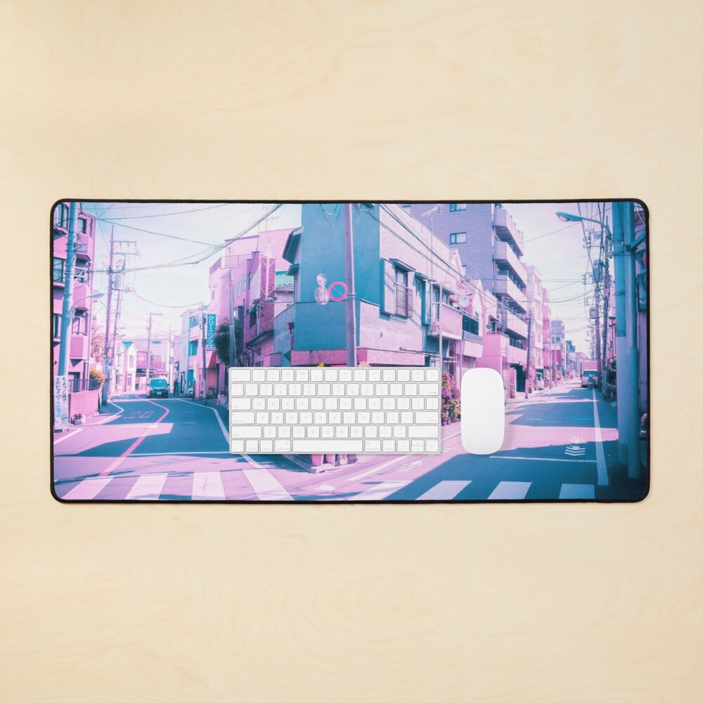 Anime in Real Life Vaporwave Summer Day in Tokyo Residential area  Mouse Pad