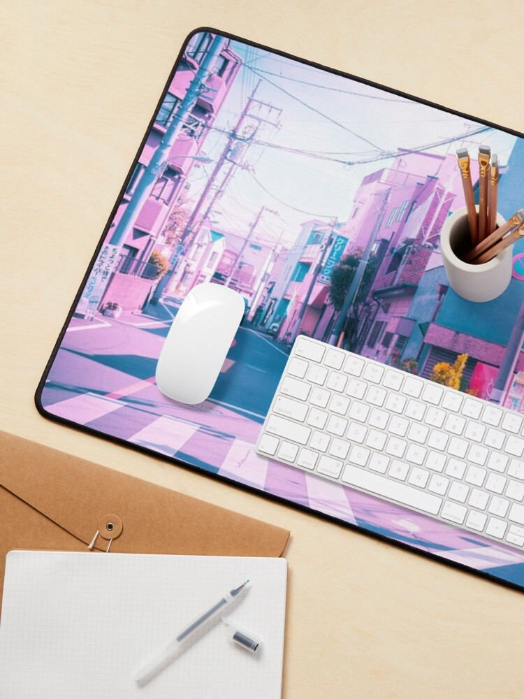 Alternate view of Anime in Real Life Vaporwave Summer Day in Tokyo Residential area  Mouse Pad
