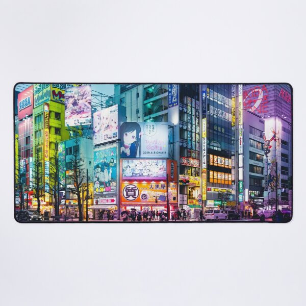 Anime Akihabara Neon Dream many colourful reflection on the wet streets Desk Mat