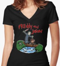 Freddy and Jason - Calvin and Hobbes Mash Up Women's Fitted V-Neck T-Shirt
