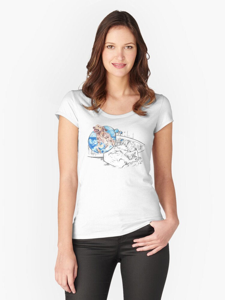 Sleeping Dog - The Golden Retriever Women's Fitted Scoop T-Shirt Front