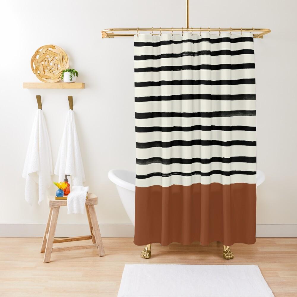 Burnt Orange x Stripes Shower Curtain