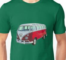 VW 21 window Mini Bus red and White Unisex T-Shirt