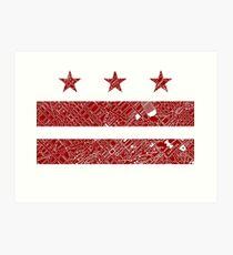 Washington DC Flag with Vintage Map Cut Out Art Print
