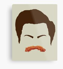 Ron Swanson Bacon Mustache  Metal Print