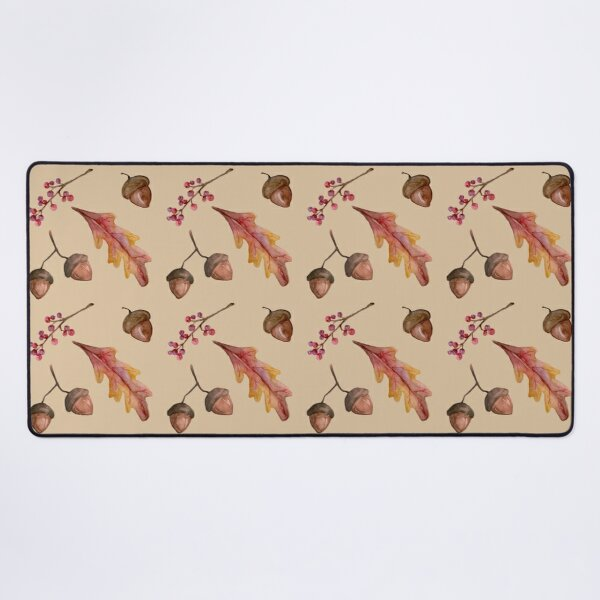 Watercolor Fall pattern with Oak Leaves and Acorns Desk Mat