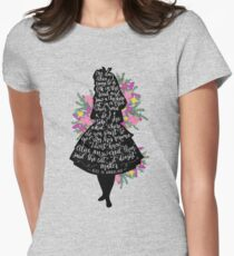 Alice in Wonderland Quote Silloette  Women's Fitted T-Shirt