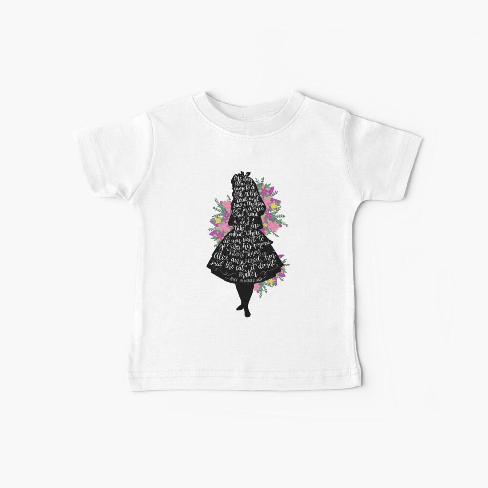 Alice im Wunderland Zitat Silloette Baby T-Shirt