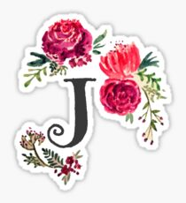 Floral Monogram Watercolor J Sticker