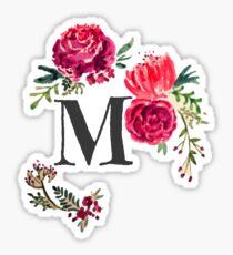 Floral Monogram Watercolor Letter M Sticker