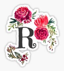 Floral Monogram Watercolor Letter R Sticker