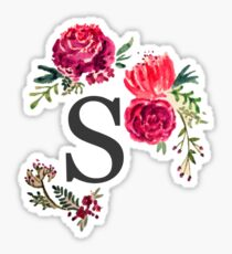 Floral Monogram Watercolor Letter S Sticker