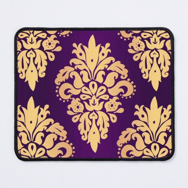 Purple and Gold Classic Damask Pattern Mouse Pad