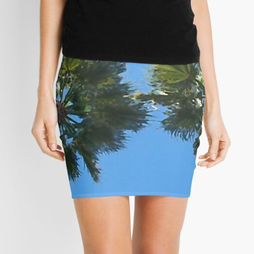 Looking Up At Two Palm Trees in Tampa Bay, Florida - Digital Oil Painting Mini Skirt
