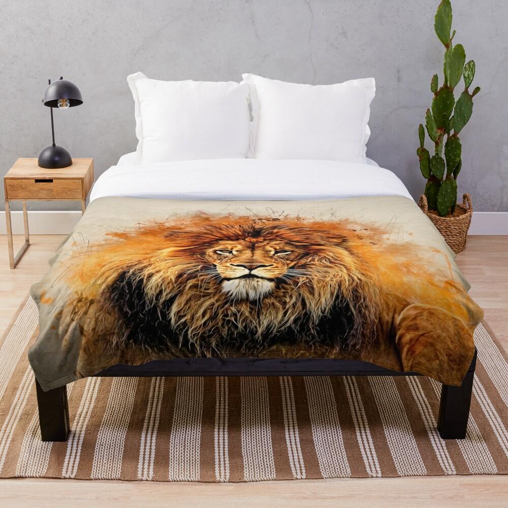 Liquid Lion Throw Blanket