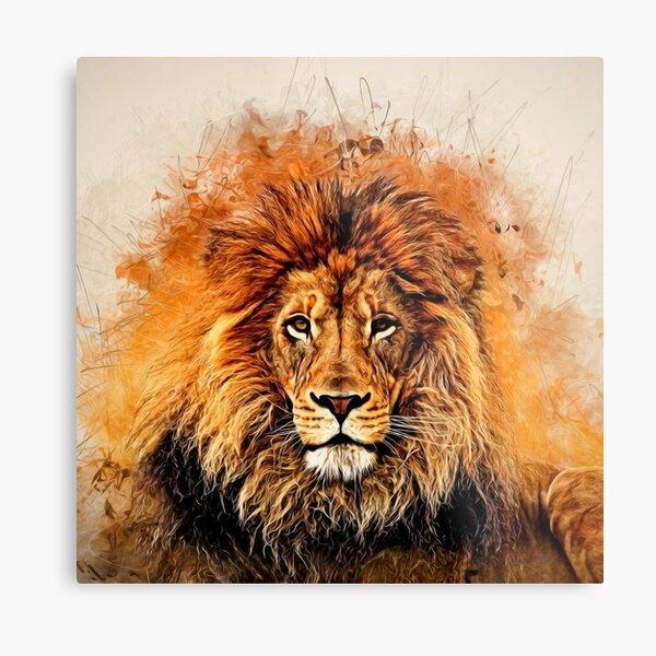 Liquid Lion Metal Print