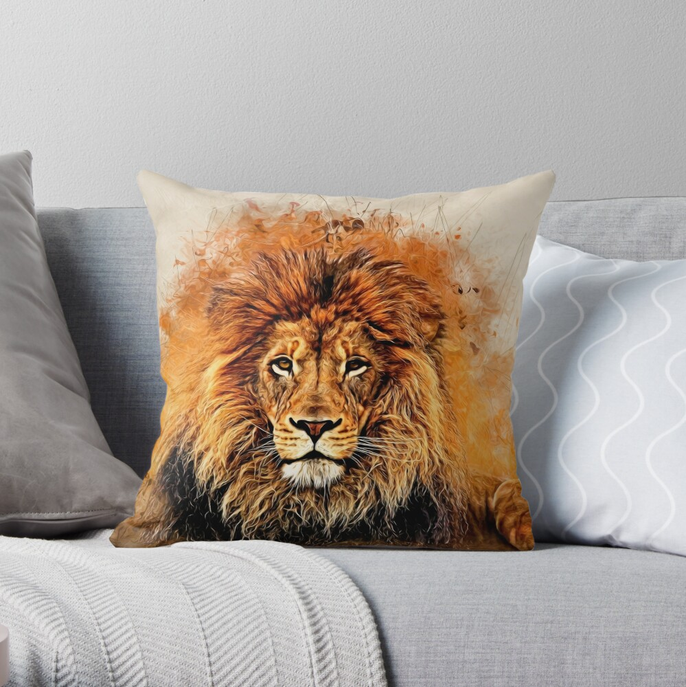 Liquid Lion Throw Pillow By Rcurtiss000 Redbubble
