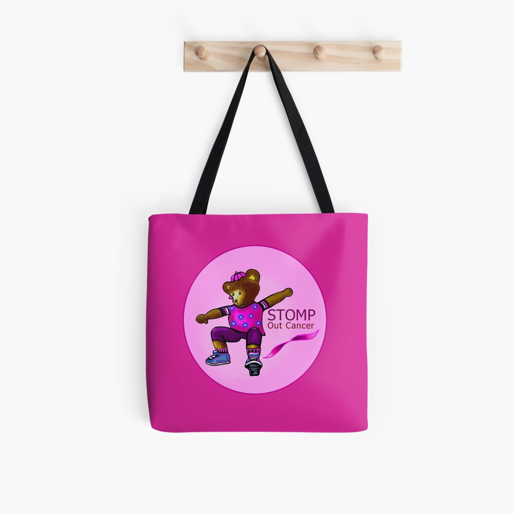 Girl Bear Stomping Out Cancer Tote Bag