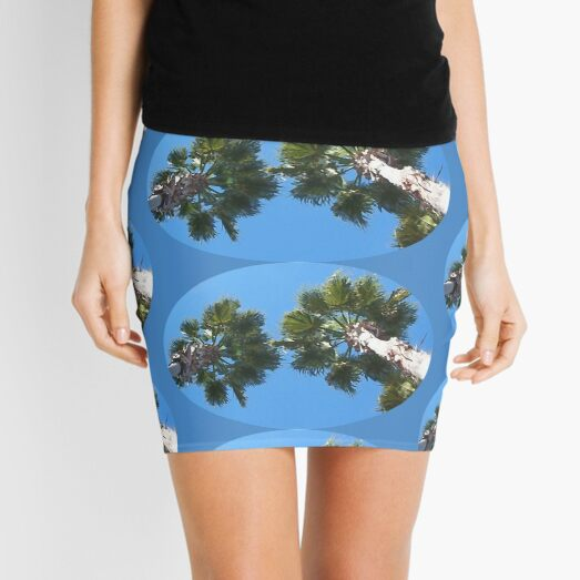 Looking Up At Two Palm Trees in Tampa Bay, Florida - Oval Shaped - Digital Oil Painting Mini Skirt