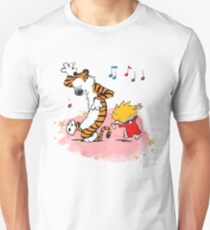 Calvin and Hobbes Dancing On The Floor Unisex T-Shirt