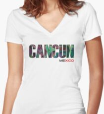 Mexico, Cancun Women's Fitted V-Neck T-Shirt