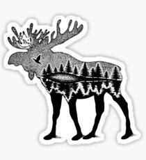 Moose in the WILD Illustration Sticker