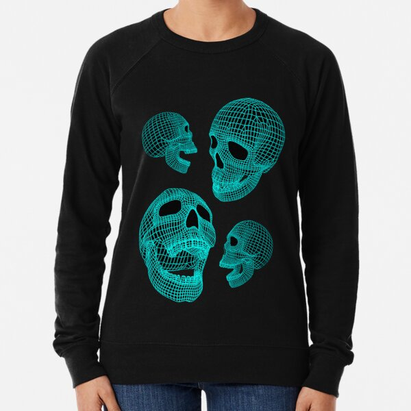 Neon Skulls - Large Blue Skulls Lightweight Sweatshirt