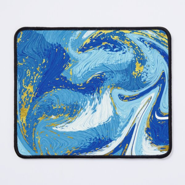 Blue Marble Swirl Pattern Design Nautical Waves Mouse Pad