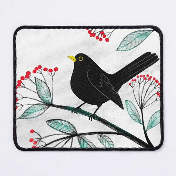 Blackbird in the Snow - Traditional Christmas scene by Cecca Designs Mouse Pad