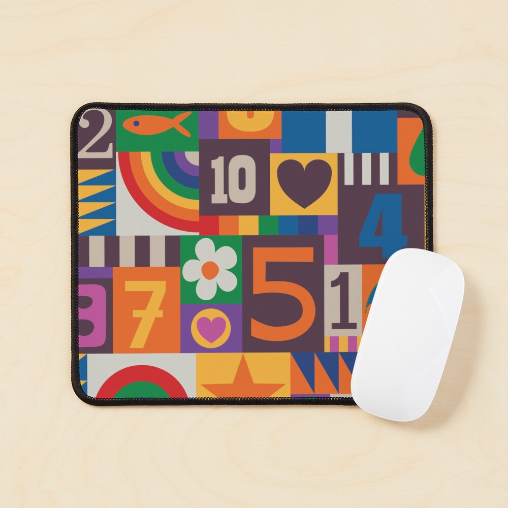 Pop Art Patchwork - Red and Rainbow - Fun Retro Pattern by Cecca Designs Mouse Pad