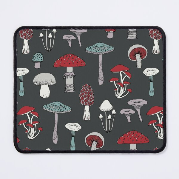 Midnight Mushrooms - fun fungus pattern by Cecca Designs Mouse Pad