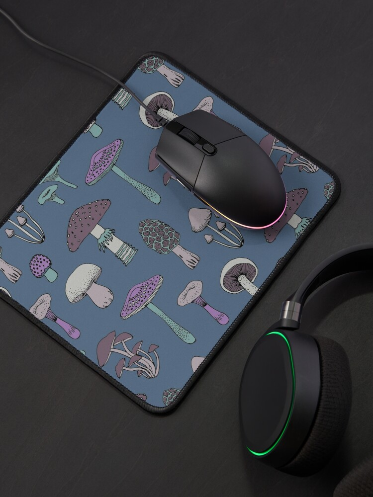Alternate view of Midnight Mushrooms - Grey - fun fungus pattern by Cecca Designs Mouse Pad