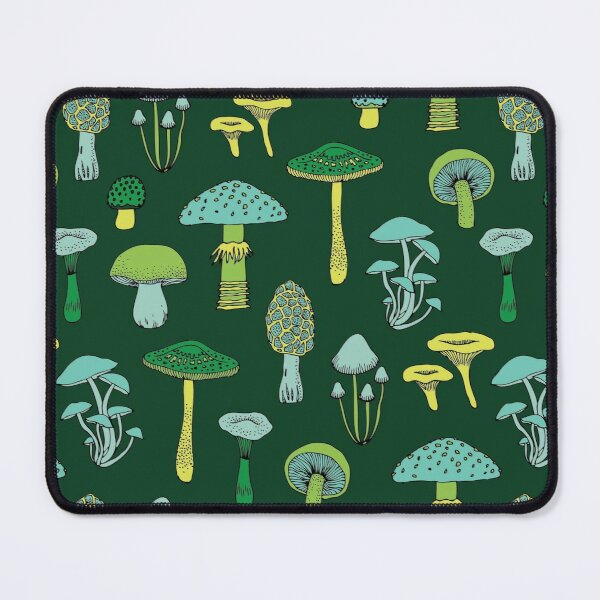 Midnight Mushrooms - Green - fun fungus pattern by Cecca Designs Mouse Pad