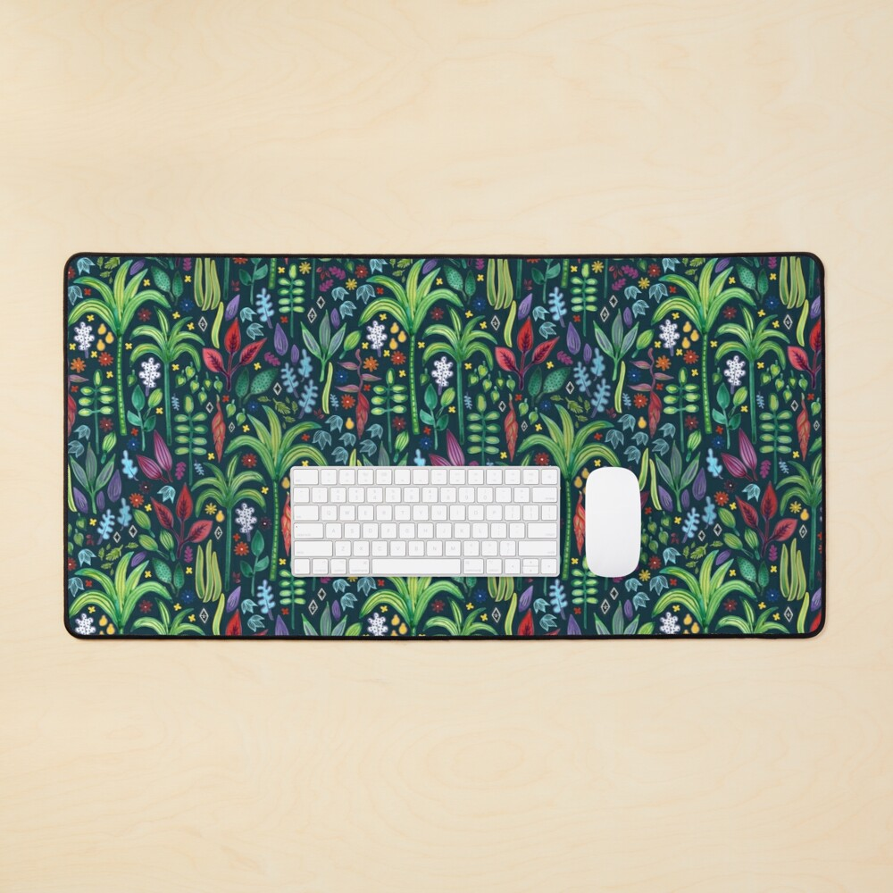 Jungle Flora - watercolour pattern by Cecca Designs Mouse Pad