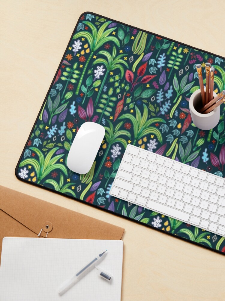Alternate view of Jungle Flora - watercolour pattern by Cecca Designs Mouse Pad