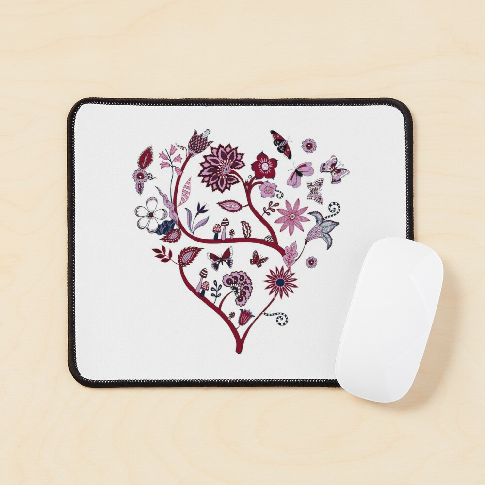 Fantasy Indian Floral - elegant, romantic pattern by Cecca Designs Mouse Pad