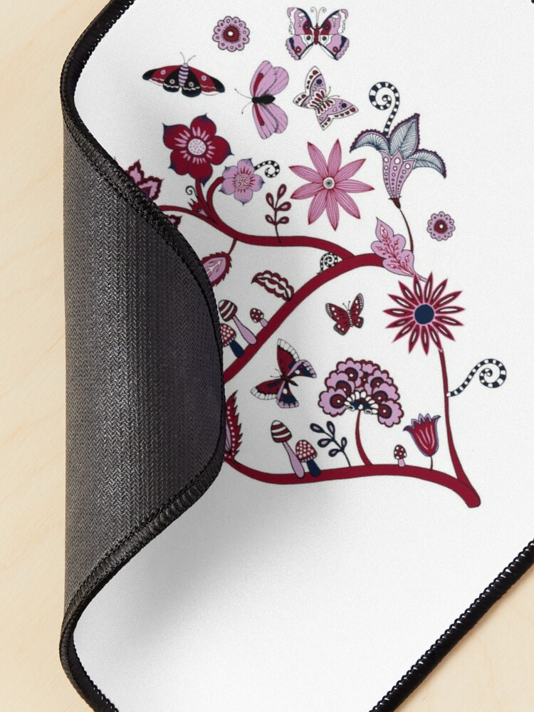 Alternate view of Fantasy Indian Floral - elegant, romantic pattern by Cecca Designs Mouse Pad