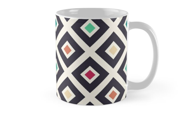 Modern Trendy Geometric Patter in Fresh Vintage Coffee Style Colors by badbugs