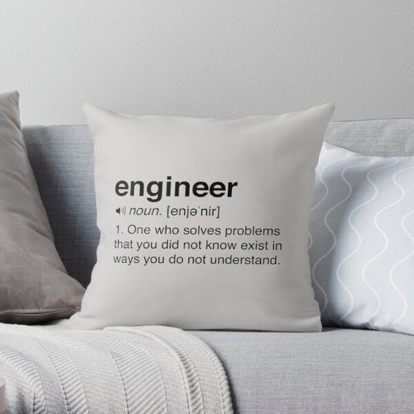 Funny Engineer Definition Throw Pillow