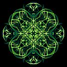 .Green Celtic Cross & Clover Sacred Geometry Energy Mandala by Leah McNeir