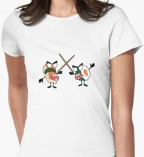 angry dueling zombie sushi Women's Fitted T-Shirt