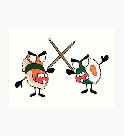 angry dueling zombie sushi Art Print