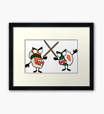 angry dueling zombie sushi Framed Print