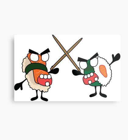 angry dueling zombie sushi Metal Print