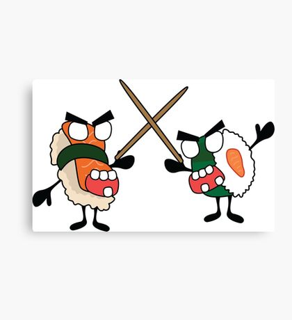 angry dueling zombie sushi Canvas Print